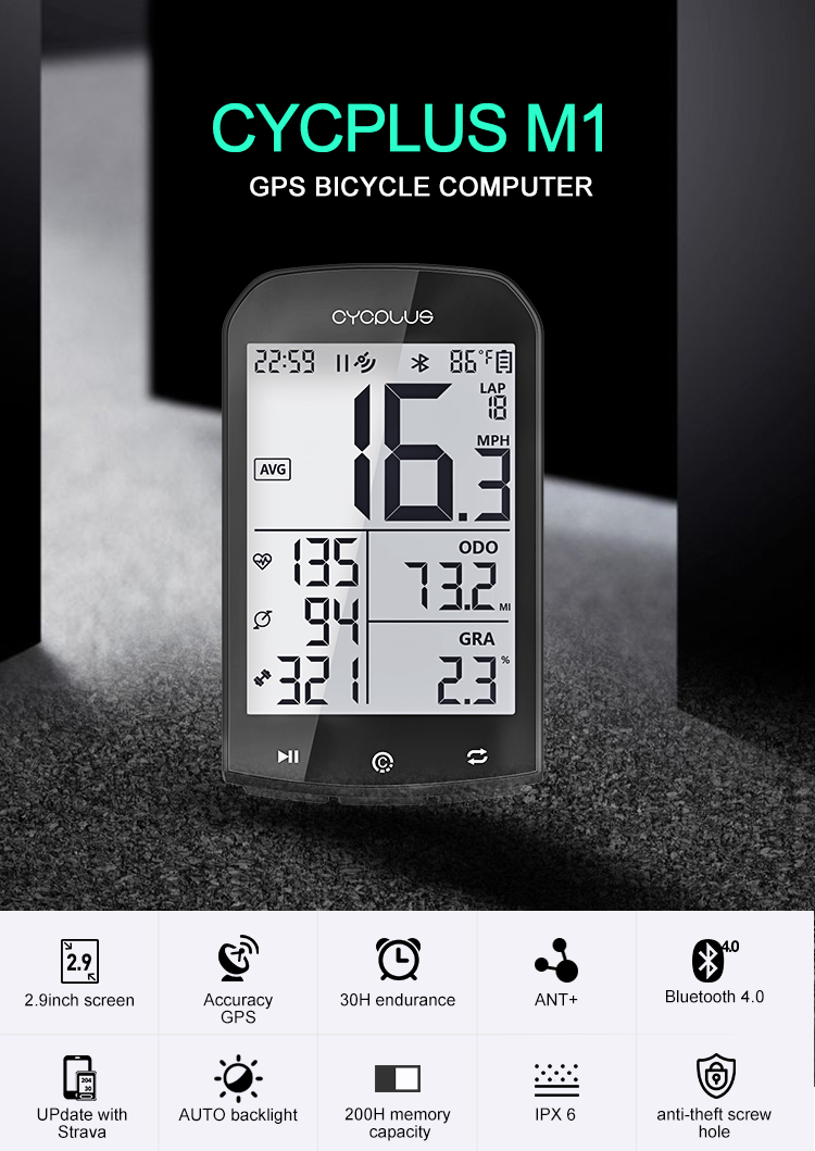 CYCPLUS M1 <font><b>Bike</b></font> <font><b>GPS</b></font> <font><b>computer</b></font> bicycle <font><b>Computer</b></font> Speedmeter wireless cycling Stopwatch image