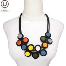UKEBAY yeni renkli ahşap takı moda gotik kolye kolye kadın kolye etnik giyim aksesuarları Chokers takı
