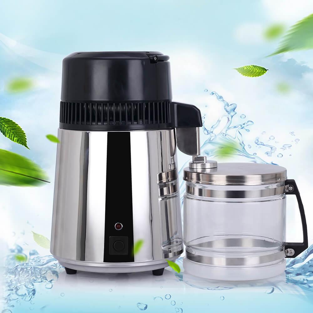 4L maison Pure eau distillateur filtre purificateur d'eau Machine Distillation purificateur en acier inoxydable récipient en verre distillé pot