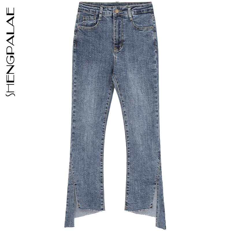 SHENGPALAE 2020 New Summer Casual Jeans Woman Long Trousers Cowboy Female Loose Streetwear Irregular Flare Pants ZA4974