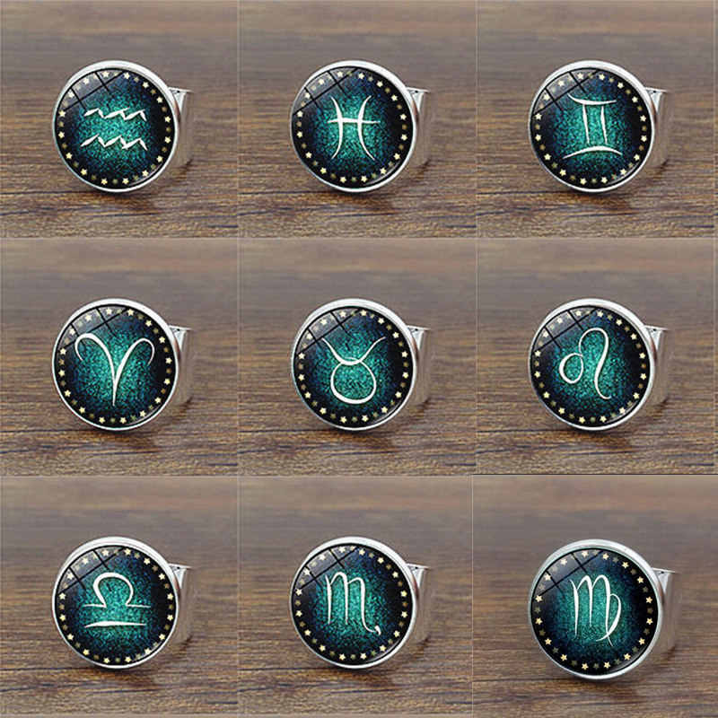 Hot Sale 12 Constellation Luminous Ring Fluorescent Glowing Rings for Men Women Couple Punk Jewelry Accessories Gifts
