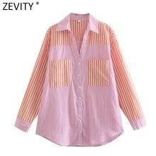 Zevity las mujeres Vintage a rayas dibujo de almazuela pecho camisa de mujer Color suelto Casual blusa verano bolsillo Tops LS9150