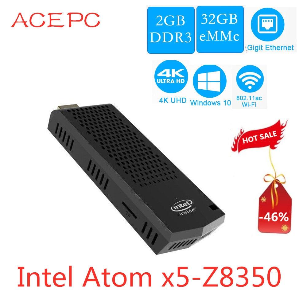 Mini PC T6 Pro atom Z8350 Fanless Intel Computer Stick Windows 10 quad core 1.44GHz 2G/32G 4GB/64GB  2.4/ 5.8Ghz WIFI 4K BT4.0