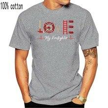 Camiseta de regalo para novia esposa bombero-Camiseta para mujer-Black Love My Firefighter