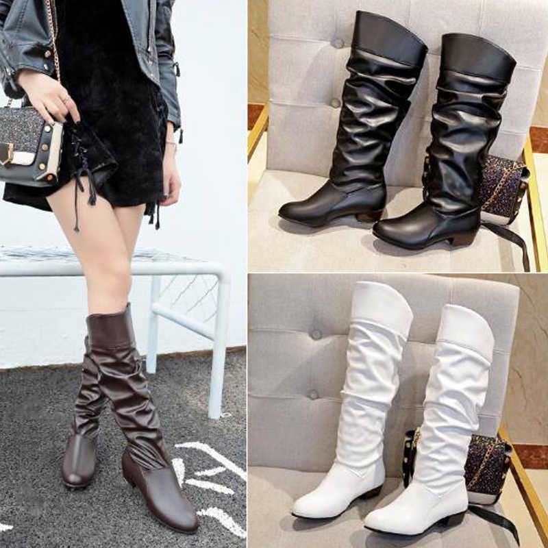 2020 Spring Fashion Women Boots  Boots Botas Female Stretch PU Leather Boots Shoes Woman Black White Roma Knee-Length Boots