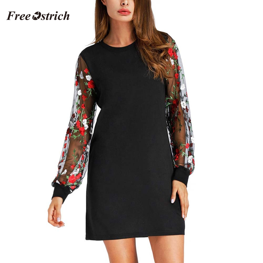 Autumn And Winter Women Dress Botanical Embroidered Mesh Sleeve Longline Pullover Elegant Black Long Sleeve Lantern Sleeve Dress