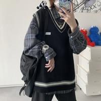 Suéter coreano con cuello en V para hombre, chaleco sin mangas, ropa de moda, chalecos tejidos, ropa de calle informal, 2021