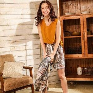 Image 5 - Primavera & verão senhoras cardighn + colete + shorts calças 4 pcs pijamas conjunto banmboo folhas impressão sleepwear feminino macio solto fino homewar