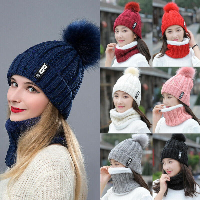 Hirigin Fashion Winter Warm Hat And Scarf Set Plushed Full Hat And Female Scarf 2019 Winter Beanie Knitted Unisex Accessories