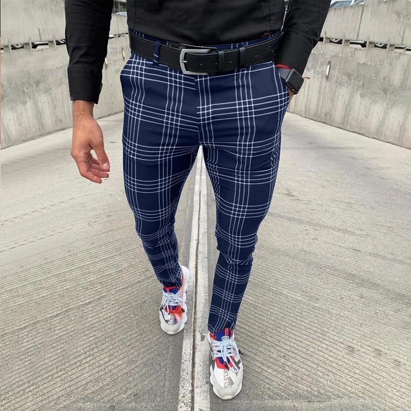 Pantalones Largos Informales A Cuadros Para Hombre Moda Elegante Ajustados Negro Ebay
