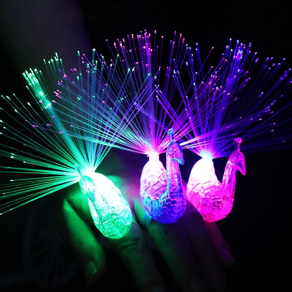 Stars Shine In The Dark Kids Toy 1PCS Luminous Peacock Decoration Open Light Toys Flash LED Lights Glow In The Dark Kids Toys E