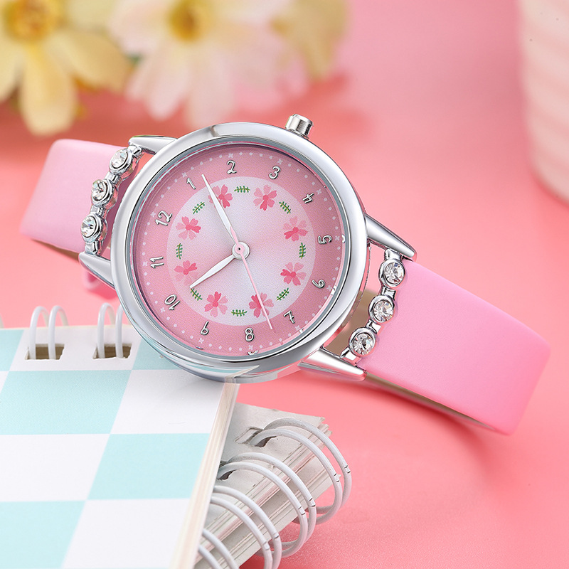 Fashion Cute Cartoon Children Watch Girls Princess Diamond Flower Quartz Watch For Kids Children Girl Watch Clock Montre Enfant