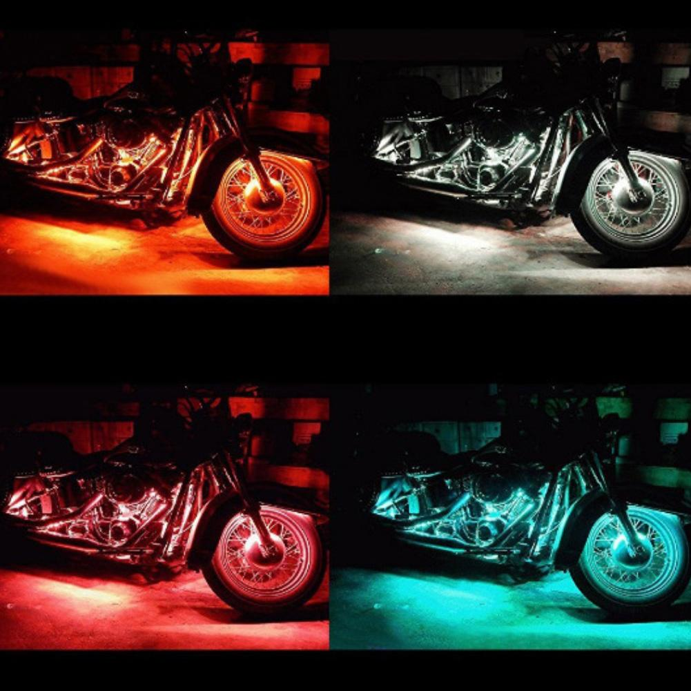 2019 New Stylish Motorcycle LED Remote Control RGB Strip Lamp Atmospheres Light Decor For Har ley Motorcycle modification|  - title=