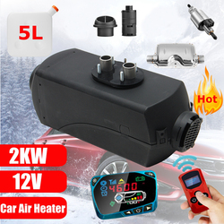 12V 2KW diésel calentador de aire para coche calentador de coche LCD Control remoto interruptor de Monitor + silenciador para camiones calentador de remolque de autobús