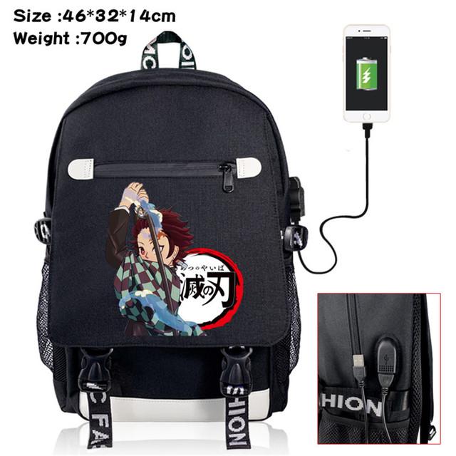 Demon Slayer Kimetsu no Yaiba Bag USB Port Travel Bag