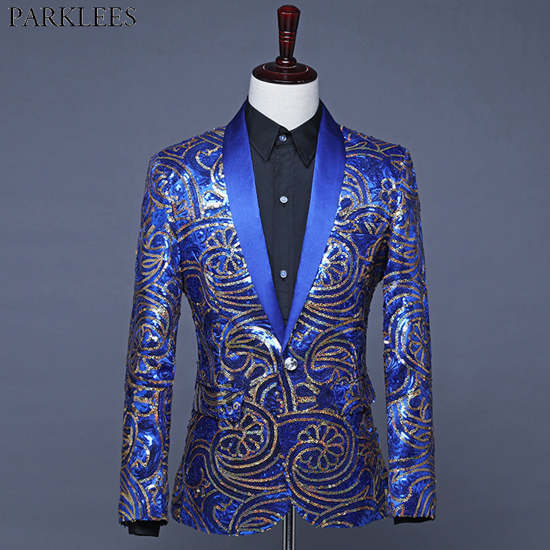 Royal Blue Floral Sequins Suit Jacket Men One Button Shawl Collar  Blazers Mens Wedding Party Prom Stage Clothers for Singers