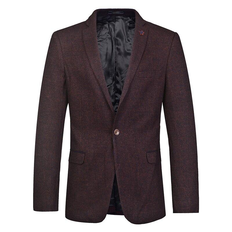 Winter Fall Fashion Casual Mens Male Wine Red One Button Woolen Blazer Coat , Korean Style 2018 Slim Fit Wool Blazers for Men