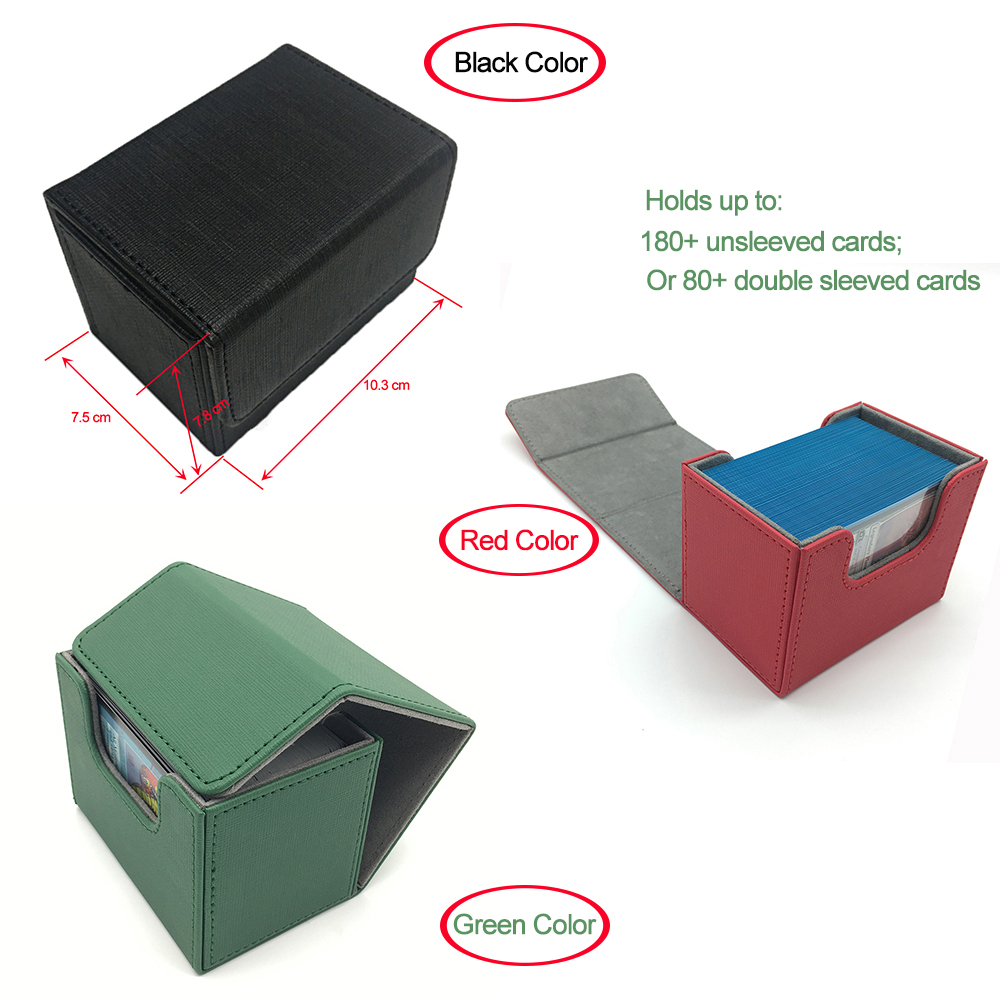 High Quality Small Side Open Magic/Pokemon/YuGiOh Card Deck Card Box: Green, Red, Black(China)