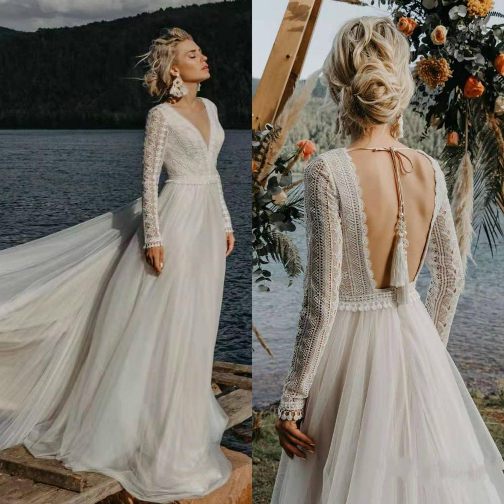 Vestido De Noiva 2020 Boho Long Sleeve Wedding Dress Lace V Neck Beach Sexy Backless Tulle Elegant Wedding Gowns