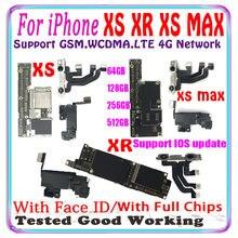 Placa base para iPhone XS MAX y XR, 512gb, 256gb, 128gb, 64gb, con chips completos de identificación facial, XS MAX, compatible con actualización, iCloud gratis