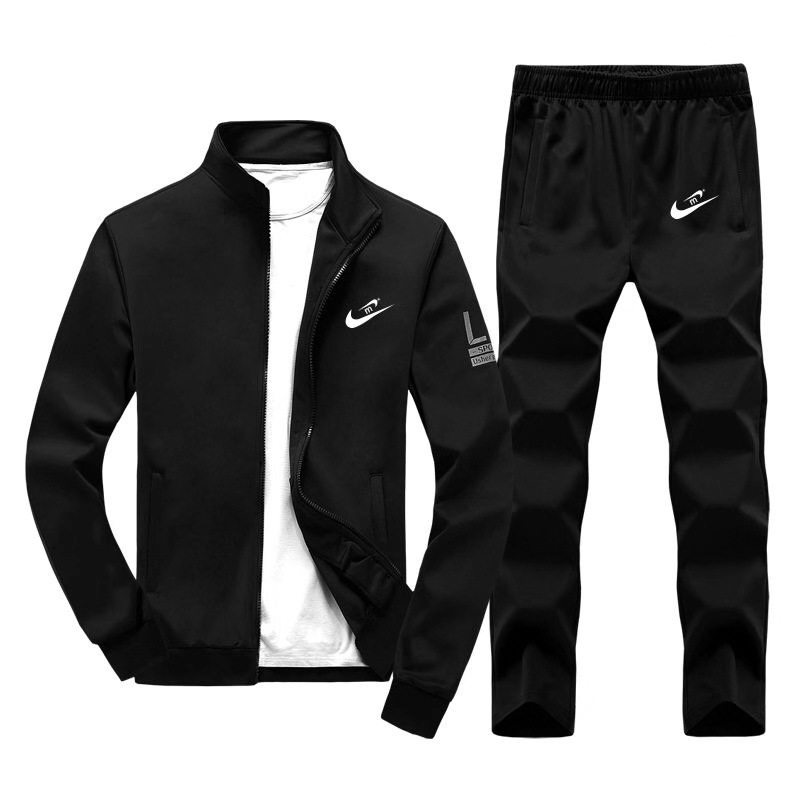 Men Leisure Sports Suit Korean-style Thin Cashmere Teenager Zip-up Jacket Autumn Two-Piece Set Men'S Wear