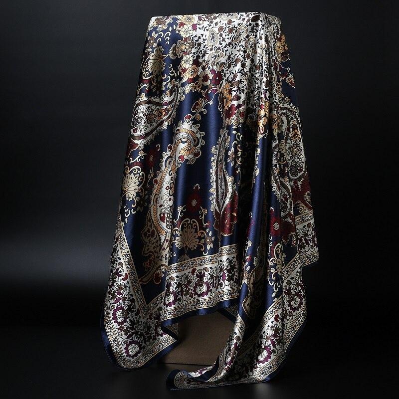 Fashion Hijab Scarf For Women Square Shawls Satin Silk Hair Scarfs Female 90*90cm Kerchief Bandana Head Neck Scarves For Ladies