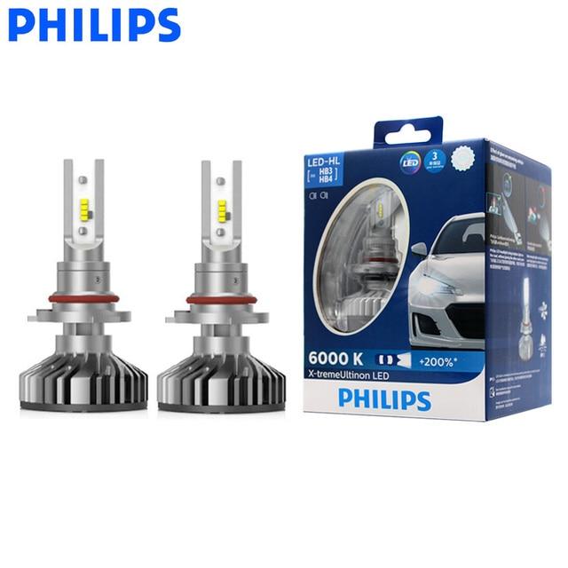 フィリップス LED 9005 9006 HB3 HB4 X treme Ultinon LED 車のヘッドライト 6000 18k ホワイトオートオリジナルランプ + 200% 明るい 11005XUX2 、ペア