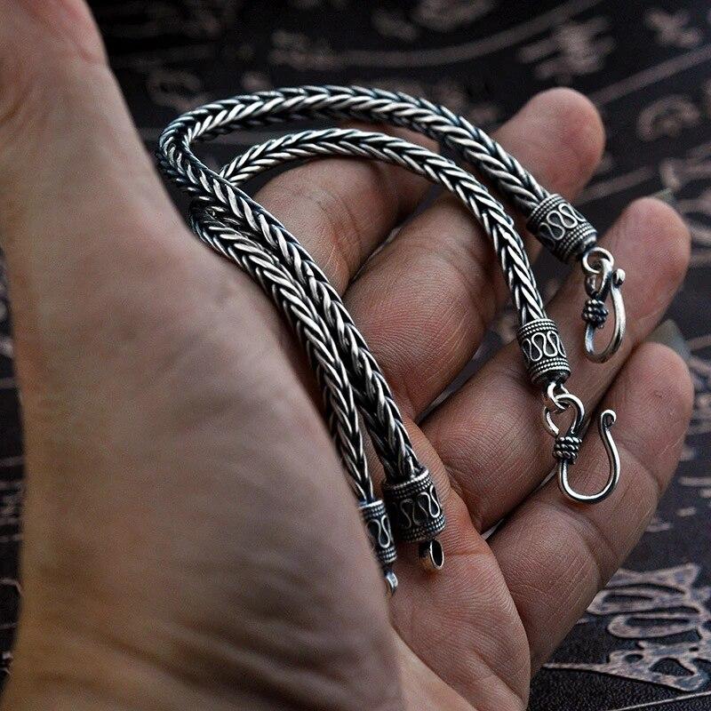 серебряный плетеный браслет в скандинавском стиле