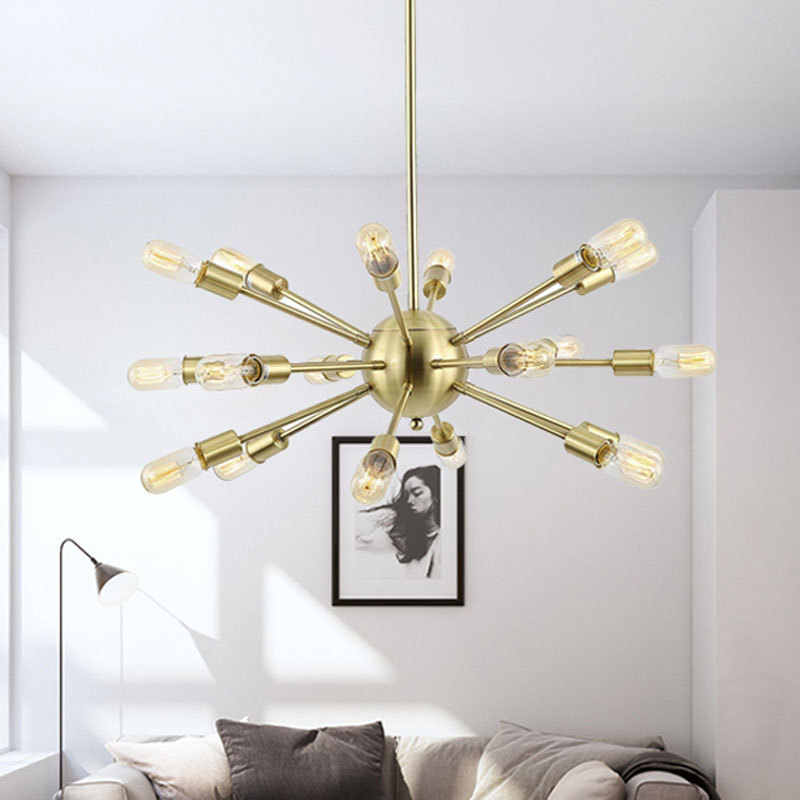 Vintage avize Sputnik ışık orta yüzyıl kolye endüstriyel demir lamba Loft siyah asılı ışıklar fikstür ev dekorasyon için