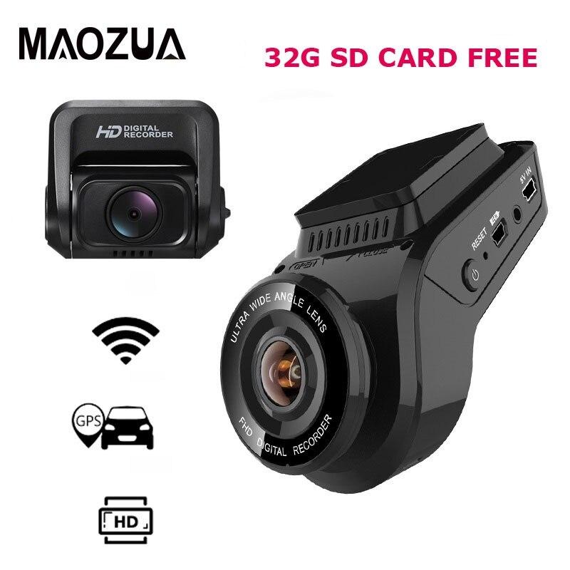 Автомобильный видеорегистратор 2160P 4K Ultra HD с 1080P тыловой камерой WiFi gps регистратор ADAS двойной объектив видеорегистратор Автомобильный видеорегистратор с функцией ночного видения + 32G sd карта