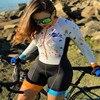 Xama ciclismo manga longa trisuit skinsuit feminino manga curta bicicleta wear macacão conjunto de roupas roadbike ciclo 8