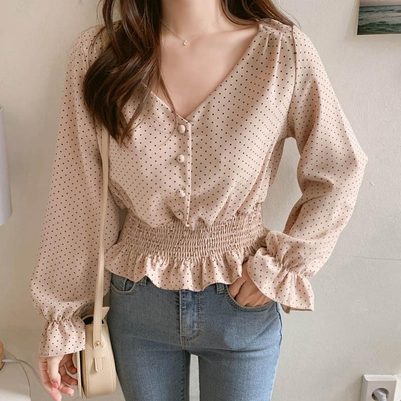 JuneLove Vintage com decote em V Alargamento da luva Polka Dot Mulheres Blusa Camisas elegantes botões frontais blusas Magro Da cintura para Ruffles Feminino Blusa