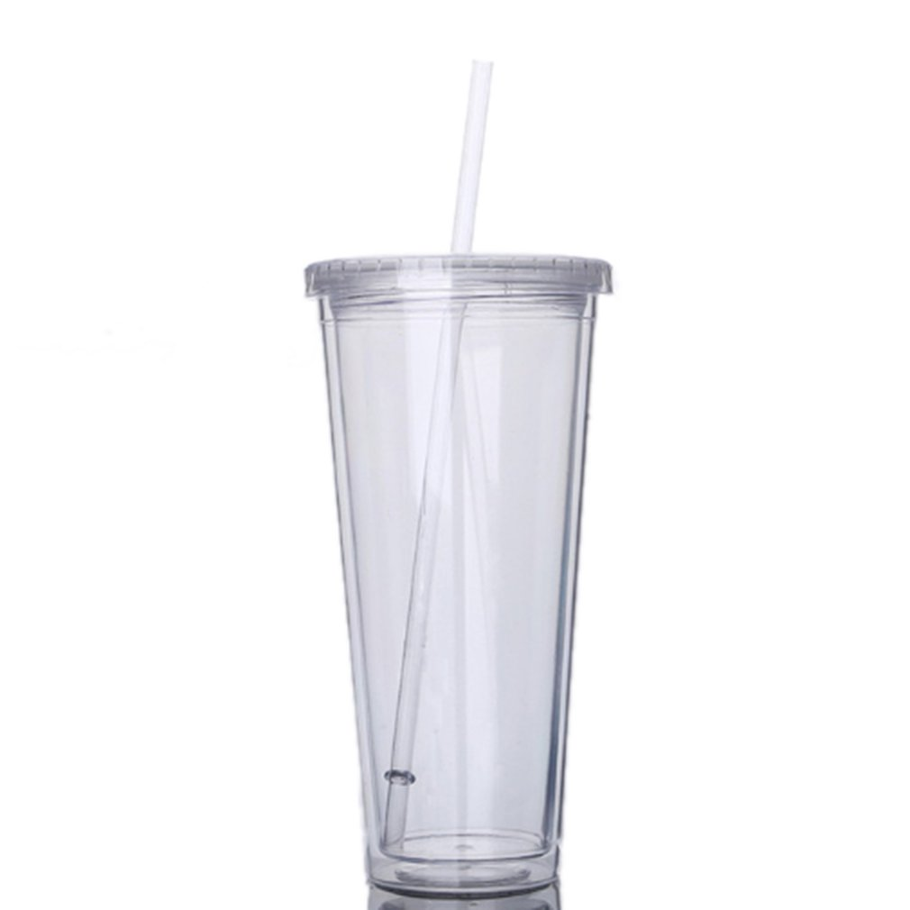 650ML Travel Portable Cup With Straw Sport Plastic Fruit Juice Water Bottle Sealed Cup Double Layer Plastic