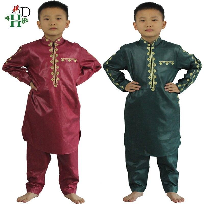 H&D African Clothes For Kids Boys Embroidery Dashiki Bazin Child Shirt Pants Suit Robes Ensemble Fashion Children Jalabiya Z2804