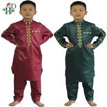 H & D Afrikaanse Kleding Voor Kinderen Jongens Borduren Dashiki Bazin Kind Overhemd Broek Pak Gewaden Ensemble Mode Kinderen Jalabiya z2804