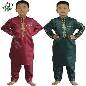 Image 1 - H & D Afrikaanse Kleding Voor Kinderen Jongens Borduren Dashiki Bazin Kind Overhemd Broek Pak Gewaden Ensemble Mode Kinderen Jalabiya z2804