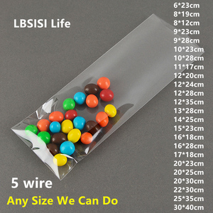 LBSISI Life 100pcs Transparent Plastic Bag For Candy Cookie Bread Food Chocolate Bean Clear Top Open Pen Gift Packaging Bags