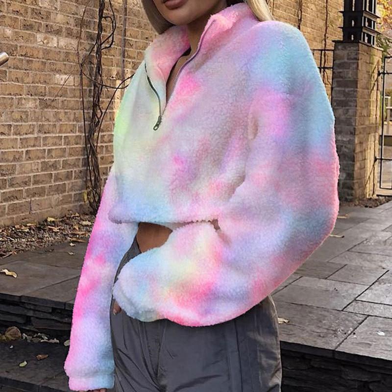 Focal20 Streetwear Tie Dyeing Zipper Women Teddy Jackets Sweatshirts Loose Causal Female Pullovers Coats Autumn Winter Lady Tops