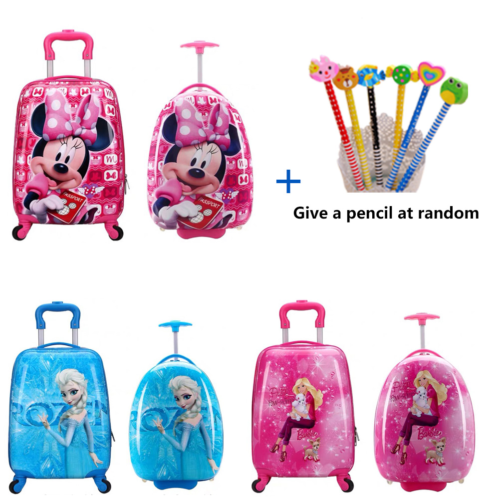 16/18 Inch Kids Cartoon Rolling Luggage Children Travel Suitcaseon Wheel Trolley Luggage Carry-ons Hardside Bag For Kid Gift