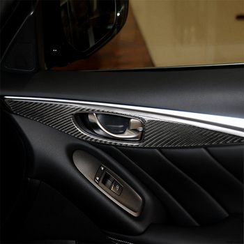 4pcs Carbon Fiber Interior Decoration Door Handle Frame Cover Trim Stickers for Infiniti Q50 2014+ Car Decals Accessories