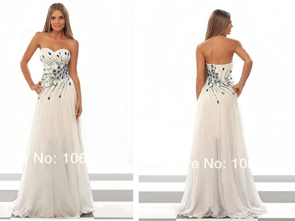 Free Shipping 2018  White Vestido De Noiva Sweetheart Sexy Brides Custom Long Crystal Beading Maxi Formal Bridesmaid Dresses