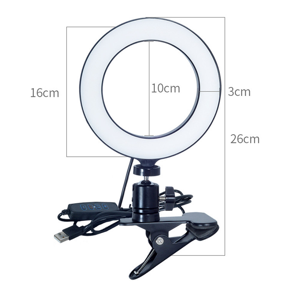 H972041fb481f41c887e911775f46499eN OUTMIX 26cm Protable Selfie Ring Light for Youtube Live Streaming Studio Video LED Dimmable Photography Lighting With USB Cable
