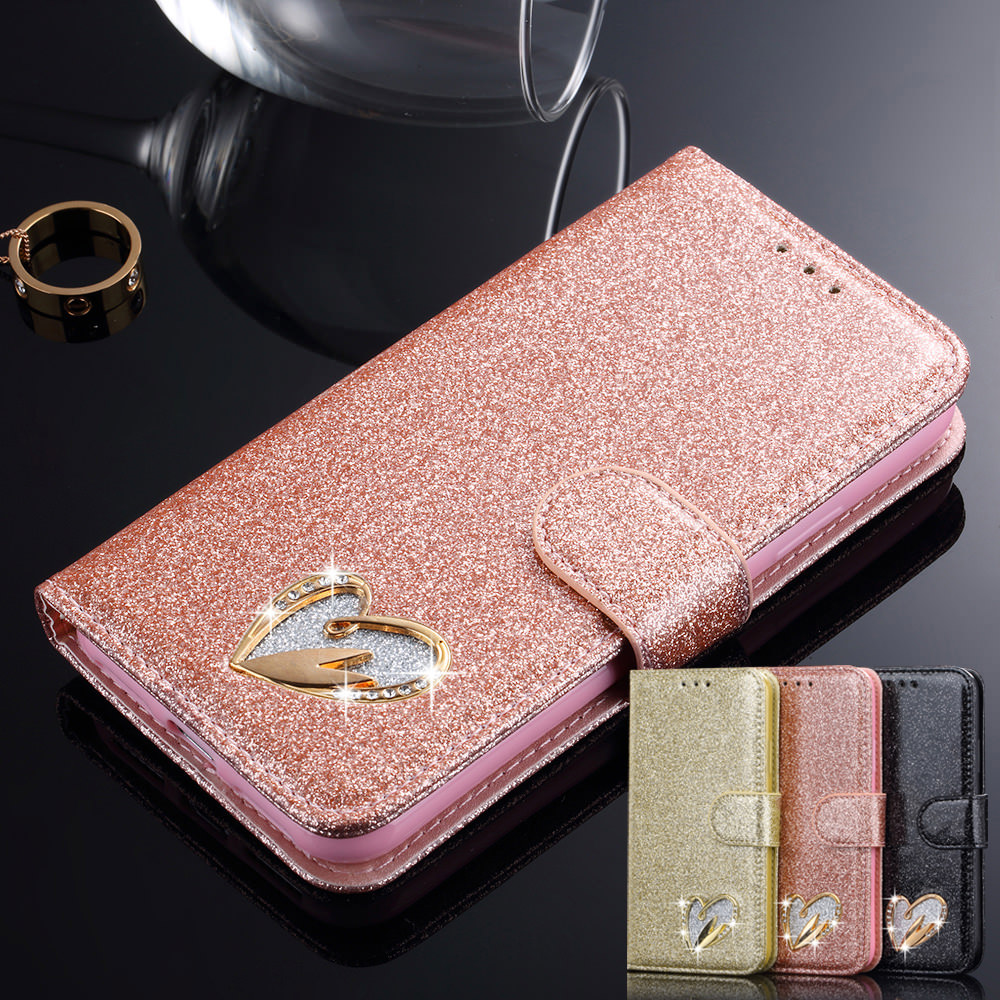 Bling Glitter Case Girls Soft PU Leather Magnetic Wallet with Stand Function Card Slots Flip Cover Fashion Cash Pockets Purse Handbag-Rose gold LCHULLE Case for Samsung Galaxy S7