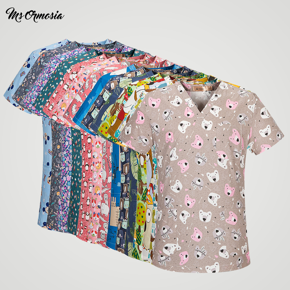 Women Medical Scrub Clothes Surgical Medical Uniforms Hospital Nurse Scrub Tops Beauty Salon Dentist Clinic Pharmacy Pet Doctor