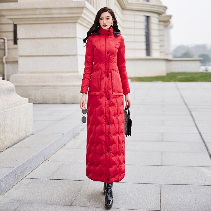 Image 4 - Red down womens 2019 winter new slim waist long warm white duck down fashion temperament 6043Down Coats