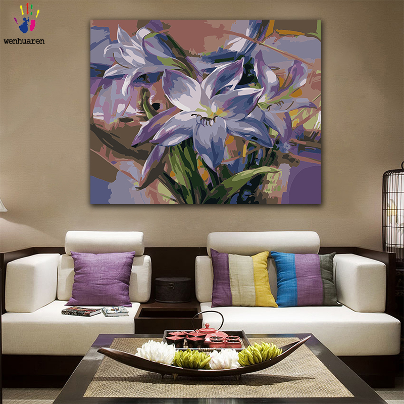 DIY Colorings Pictures By Numbers With Colors Purple Lily Flower Picture Drawing Painting By Numbers Framed Home