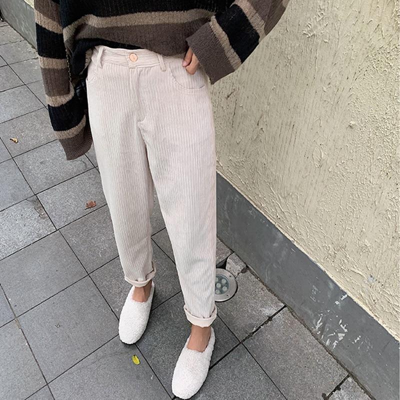 BGTEEVER Spring Autumn Women Corduroy Pants Fashion High Waist Female Straight Pants Streetwear Women Trousers Capris