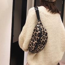 2019 spring and summer new fashion retro PU leopard print waist bag large capacity single shoulder oblique span women's bag(China)