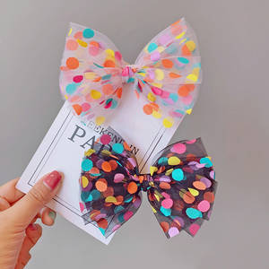 Colorful Dot Mesh Hair Bows for Girls Multi-layer Kids Hair Clips Beautiful HairPin Handmade Hairgrips Hair Accessories