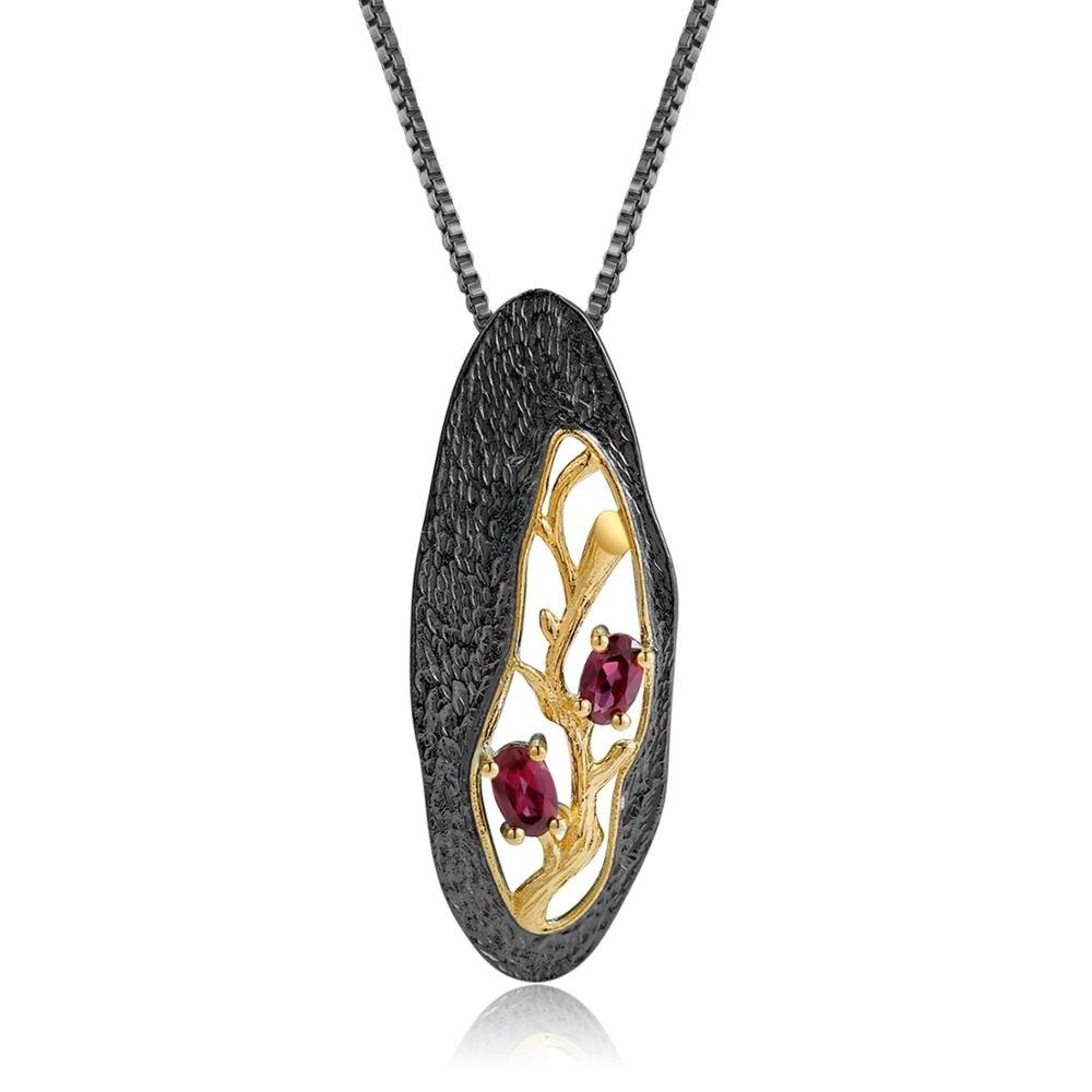 GEM'S BALLET 1.2Ct Natural Rhodolite Garnet Gemstone Pendant Original Handmade 925 Sterling Silver Necklace For Women Jewelry